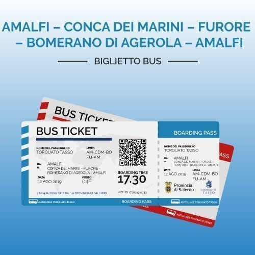 Biglietti AMALFI – CONCA DEI MARINI – FURORE – BOMERANO DI AGEROLA – AMALFI
