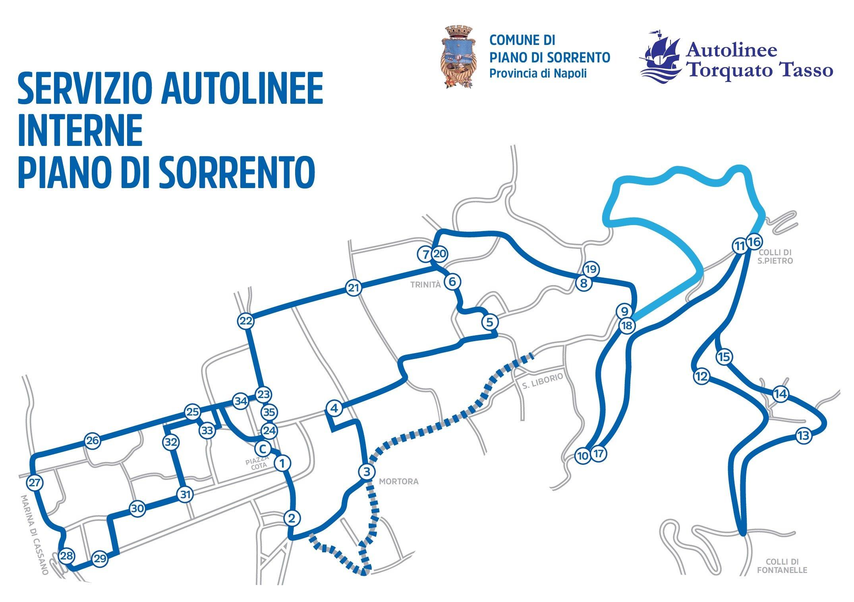 Itinerario Autolinee Torquato Tasso Piano di Sorrento